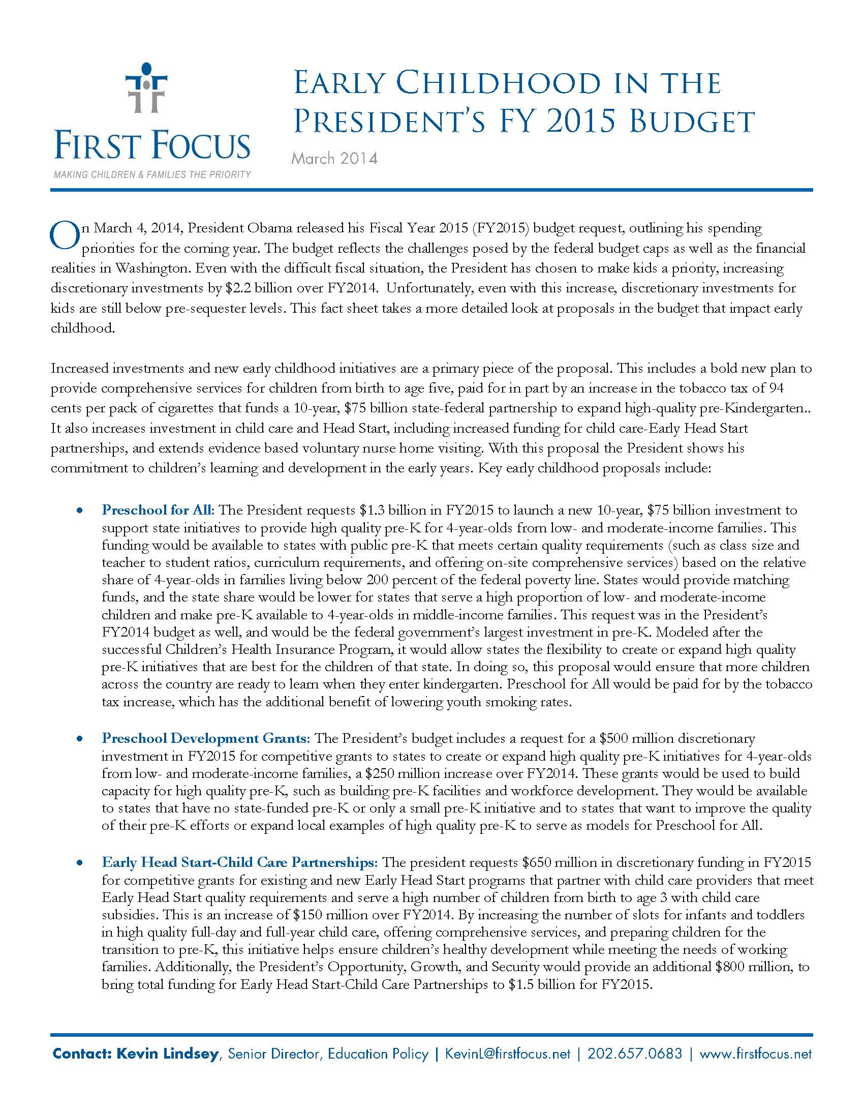 Early Childhood in Presidents FY2015 Budget_Page_1