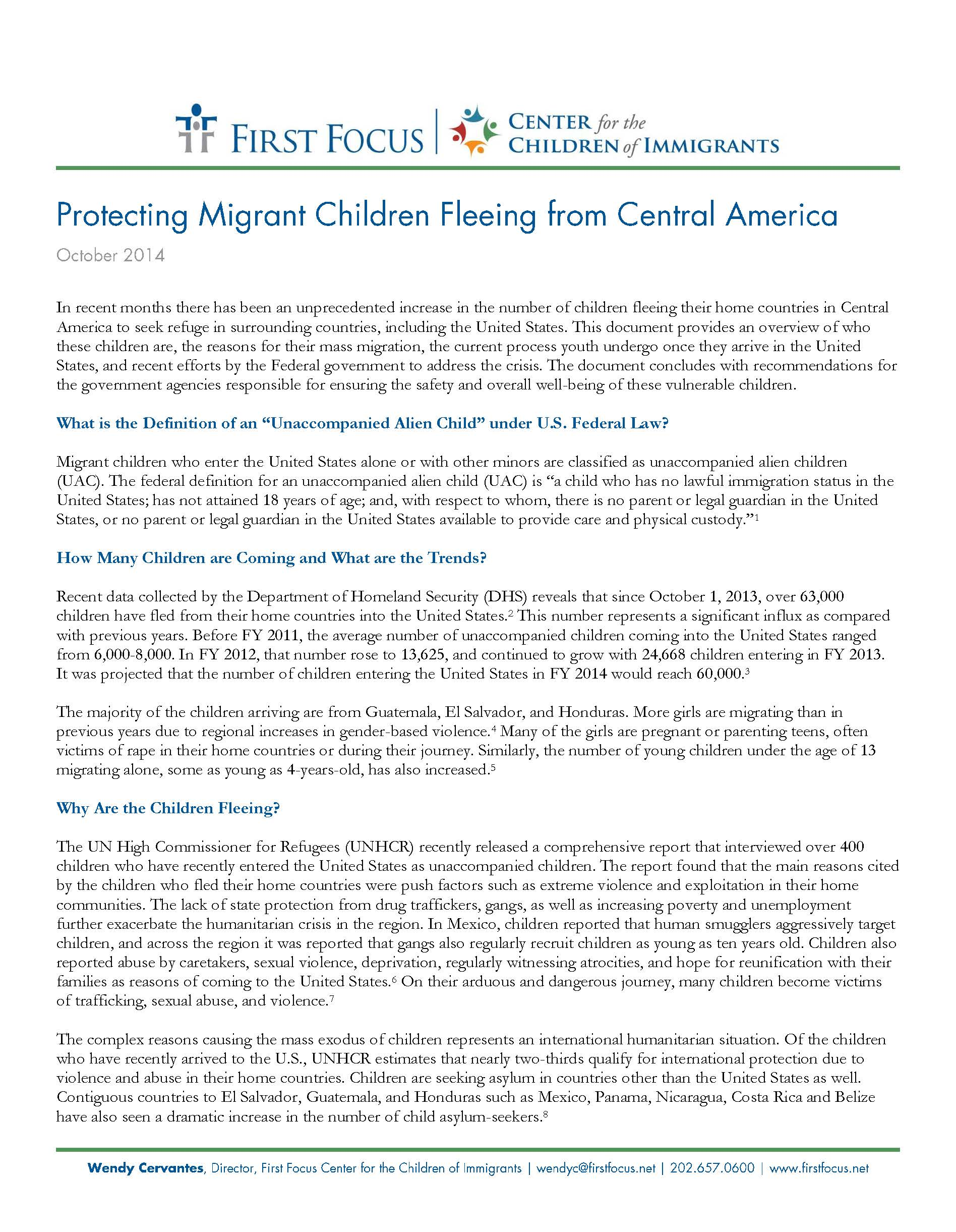 Protecting Migrant Children Fleeing from Central America
