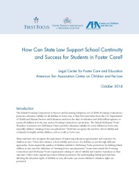 How Can State Law Support School Continuity and Success for Students in Foster Care?