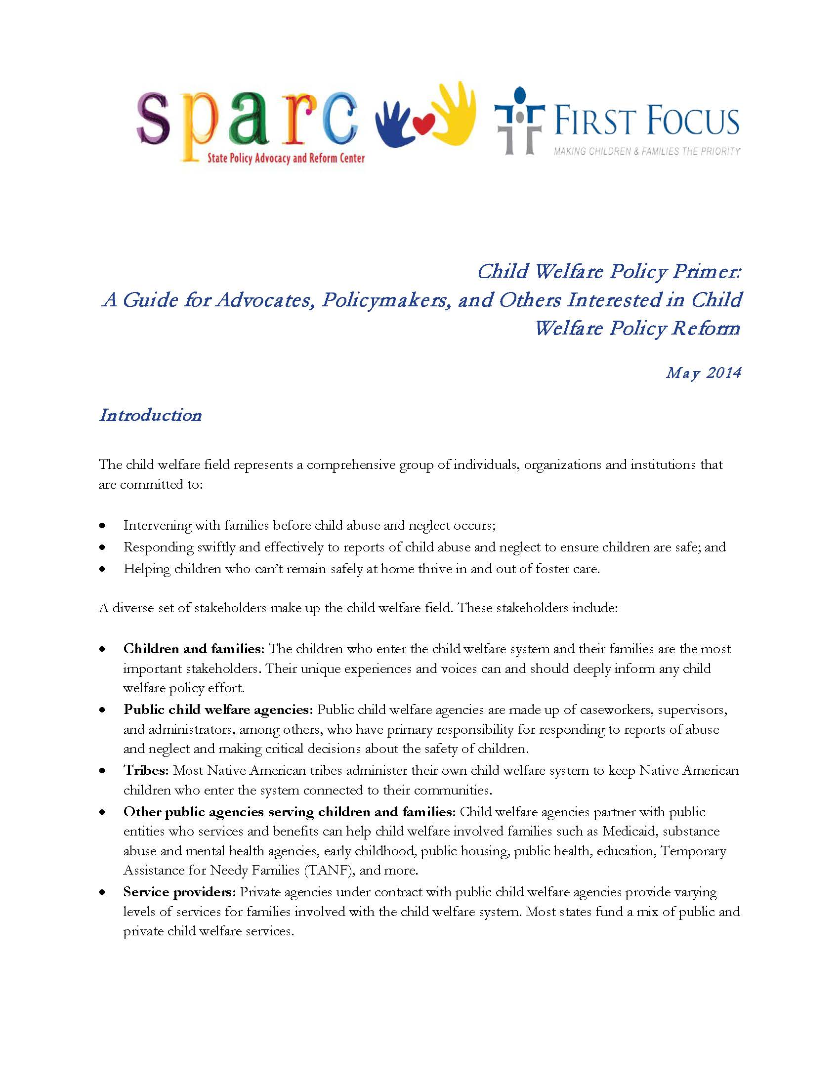 Child Welfare Policy Primer: A Guide for Advocates, Policymakers, and Others Interested in Child Welfare Policy Reform
