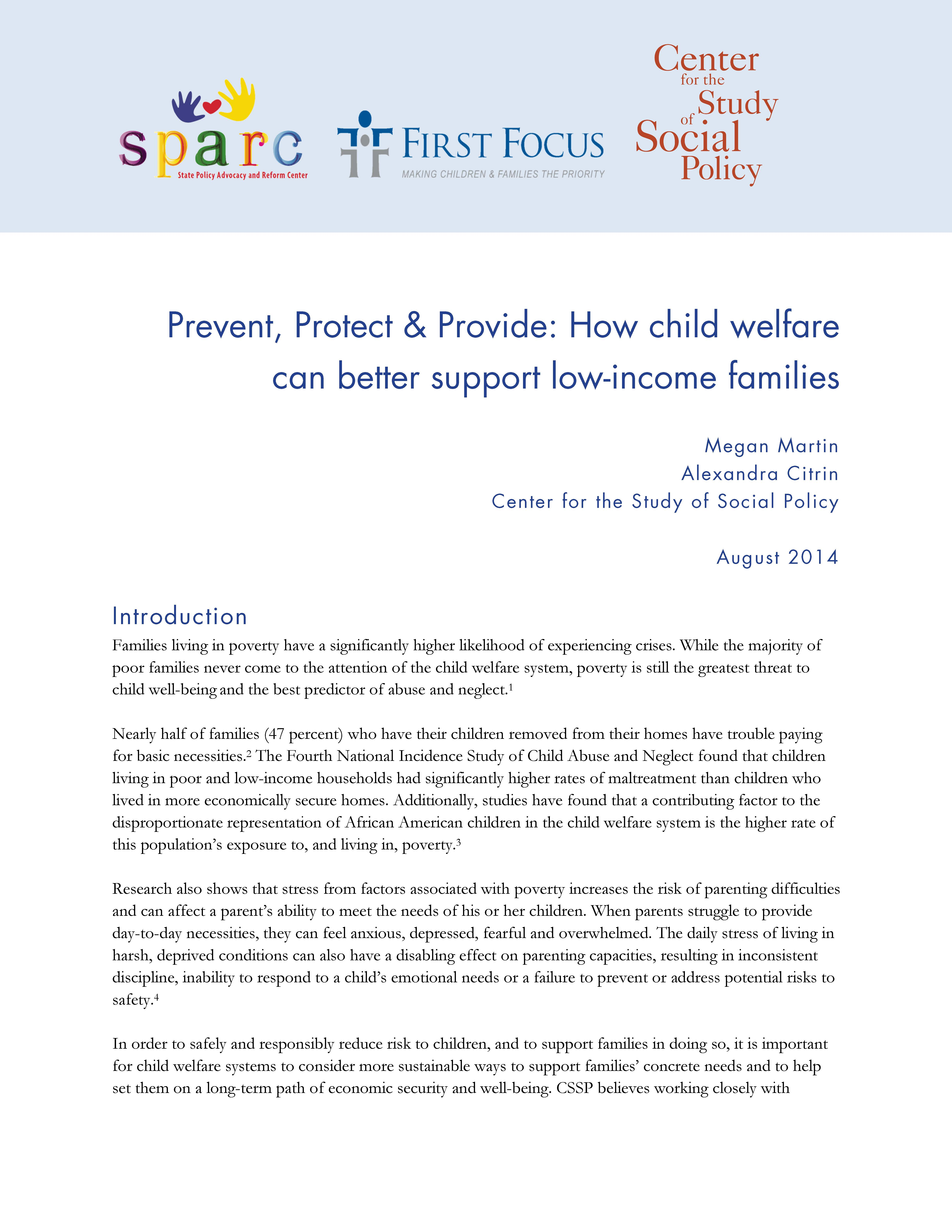 Prevent, Protect & Provide: How child welfare can better support low-income families