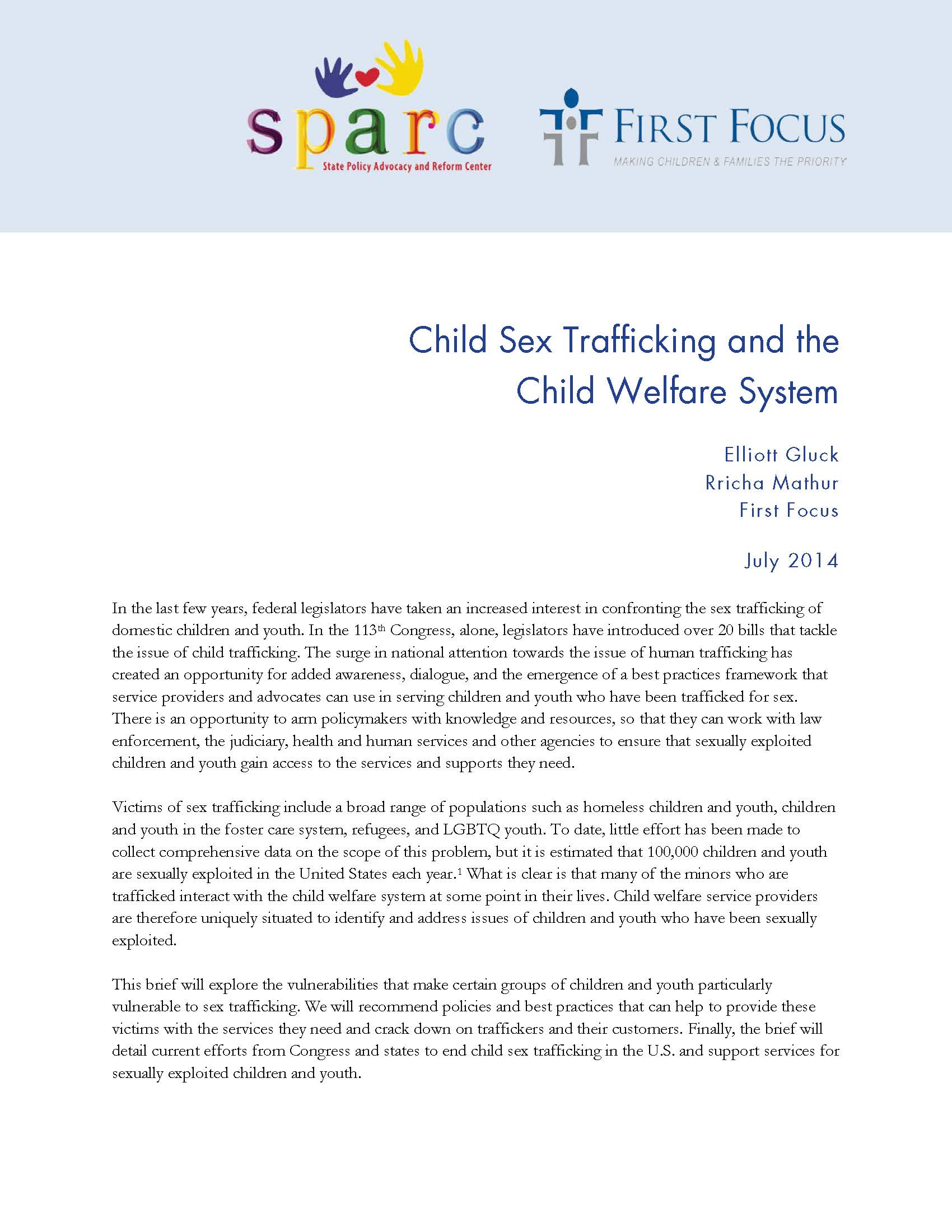 Sex Trafficking and the Child Welfare System