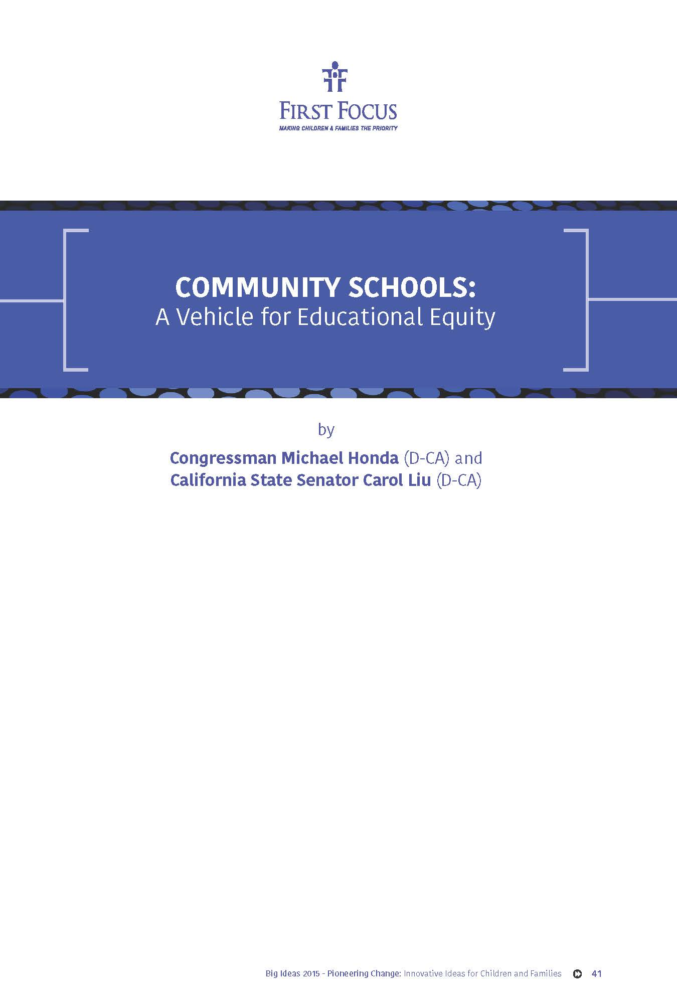 Community Schools: A Vehicle for Educational Equality