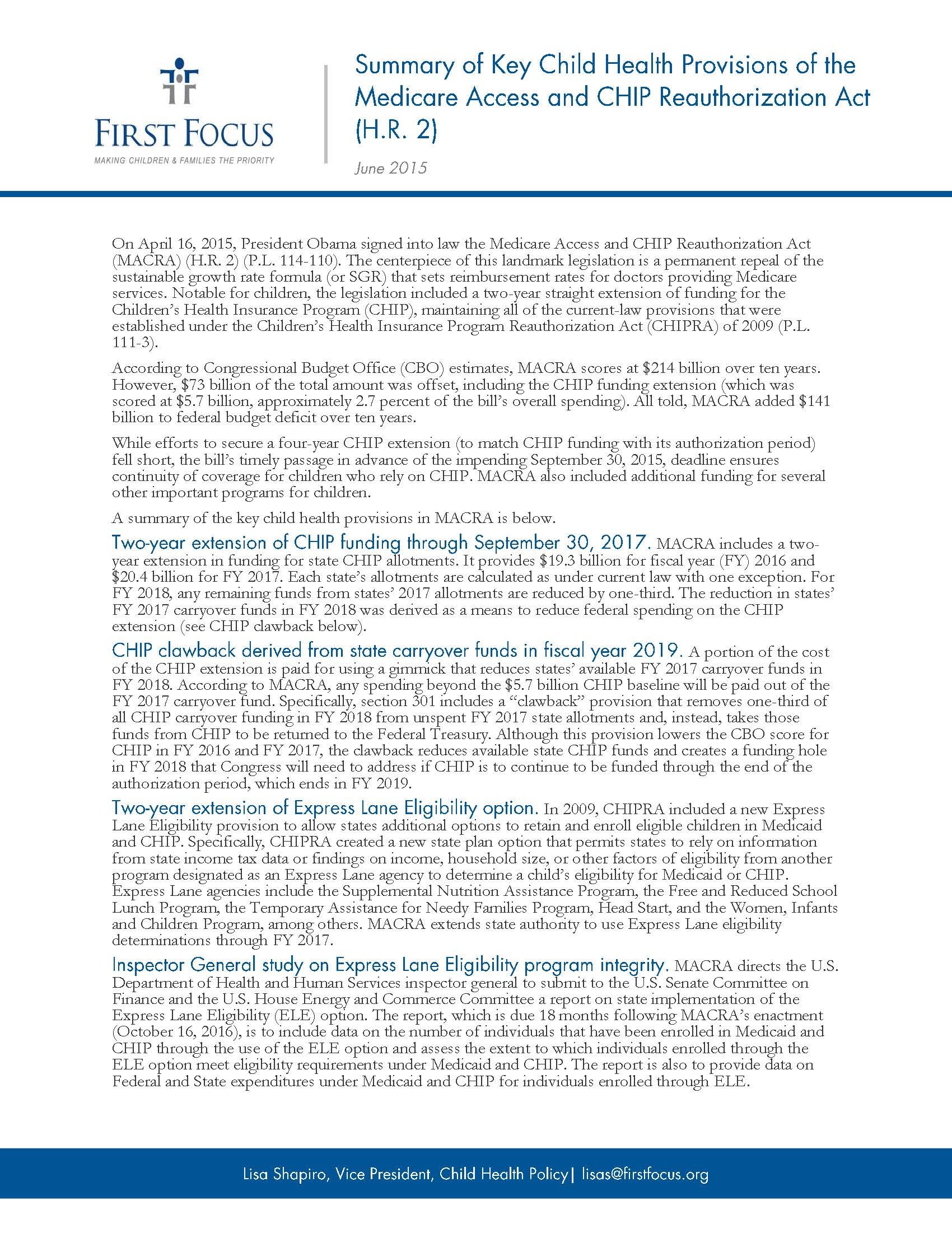 Summary of Key Child Health Provisions of the Medicare Access and CHIP Reauthorization Act_Page_1