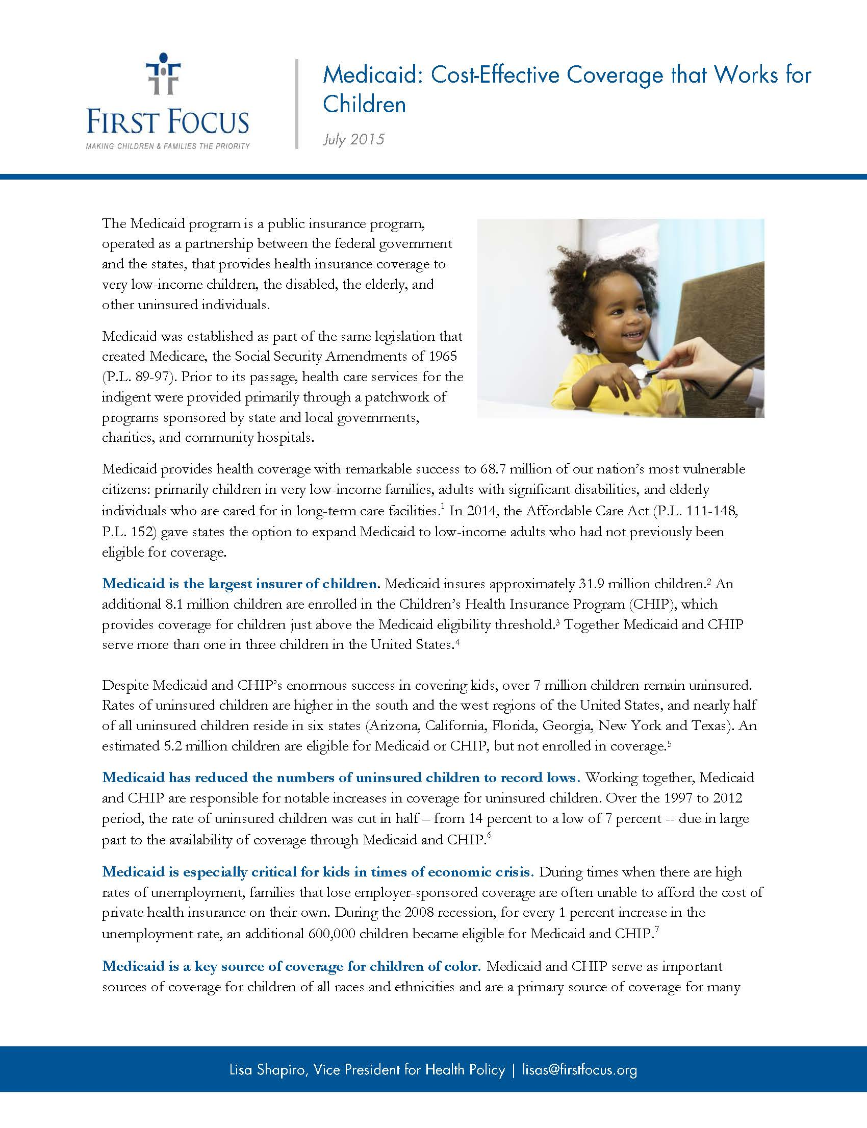 Medicaid Cost-Effective Coverage that Works for Children_Page_1