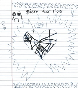 Drawing by a detained 8-year-old girl shared with congressional delegation, June 2015.