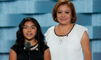 Eleven-year-old Karla Ortiz spoke this week at the Democratic National Convention, addressing the needs of children of immigrants. She was joined by her mother Francisca.