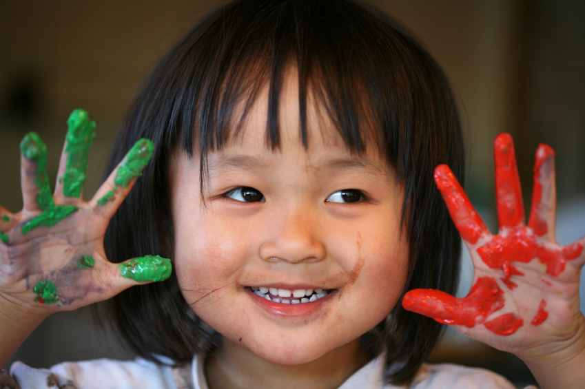 close up of chinese child face