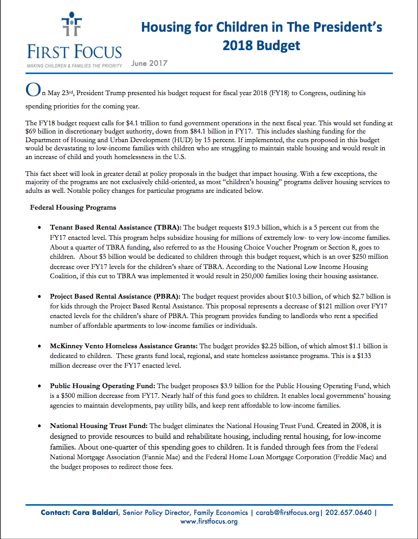 Housing: Impact of the President's FY 18 Budget Request
